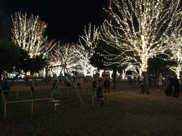 4年ぶりに開催されてるロームのイルミネーションは光と落ち葉の公園が子供たちにオススメ!